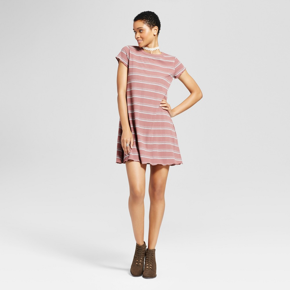 Womens Striped Ruffle T-Shirt Dress - Mossimo Supply Co. Mauve (Pink) XL
