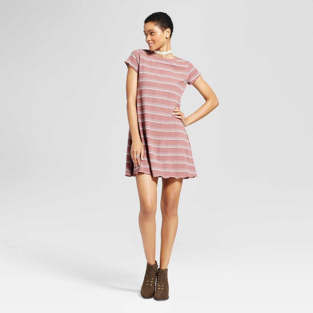Womens Striped Ruffle T-Shirt Dress - Mossimo Supply Co. Mauve (Pink) XS