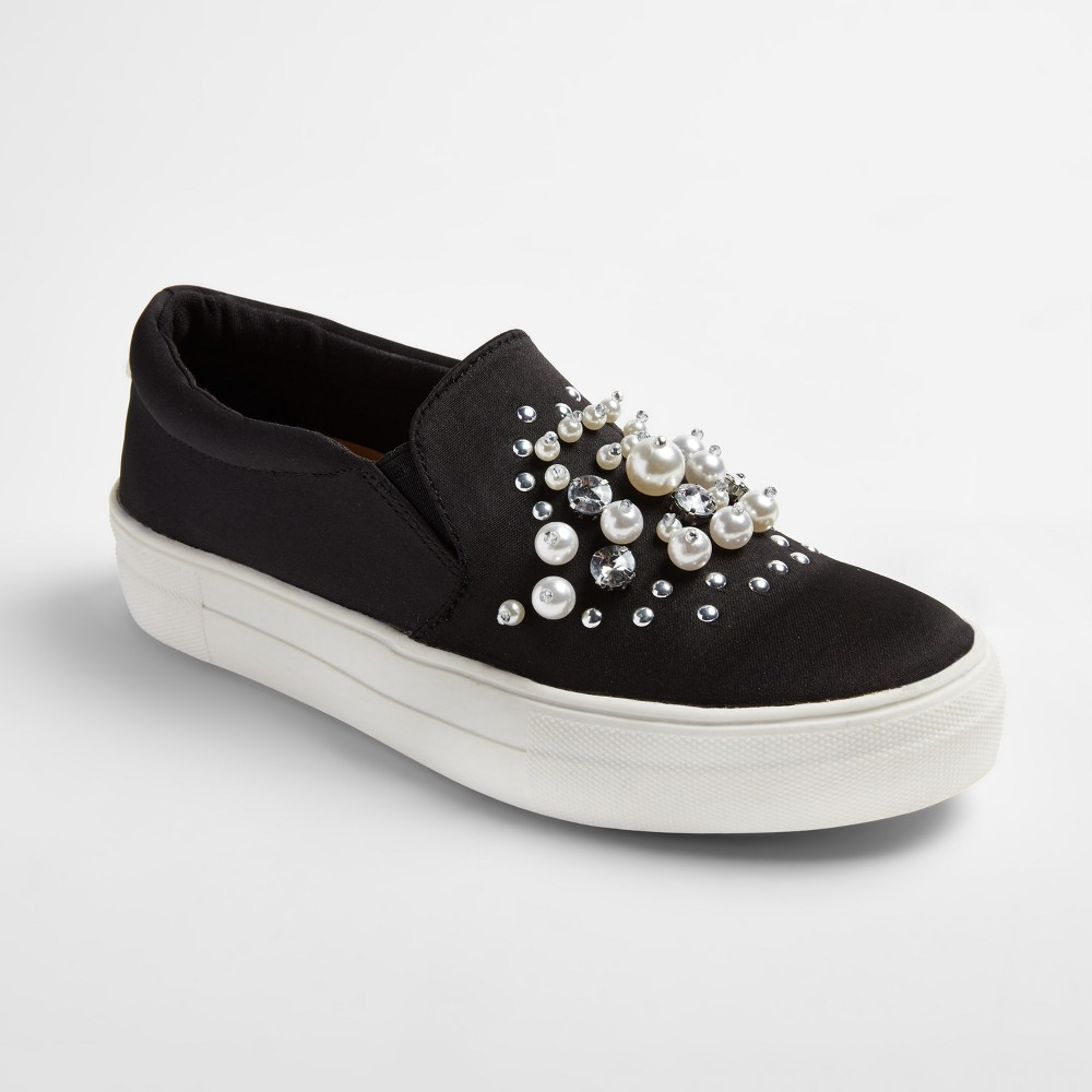 Womens Raquel Slip On Satin Sneakers with Embellished Stones and Pearls - Mossimo Supply Co. Black 8
