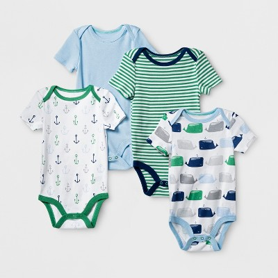 Baby Boys' 4pk Short Sleeve Bodysuit Blue/Green 6-9M - Cloud Island™