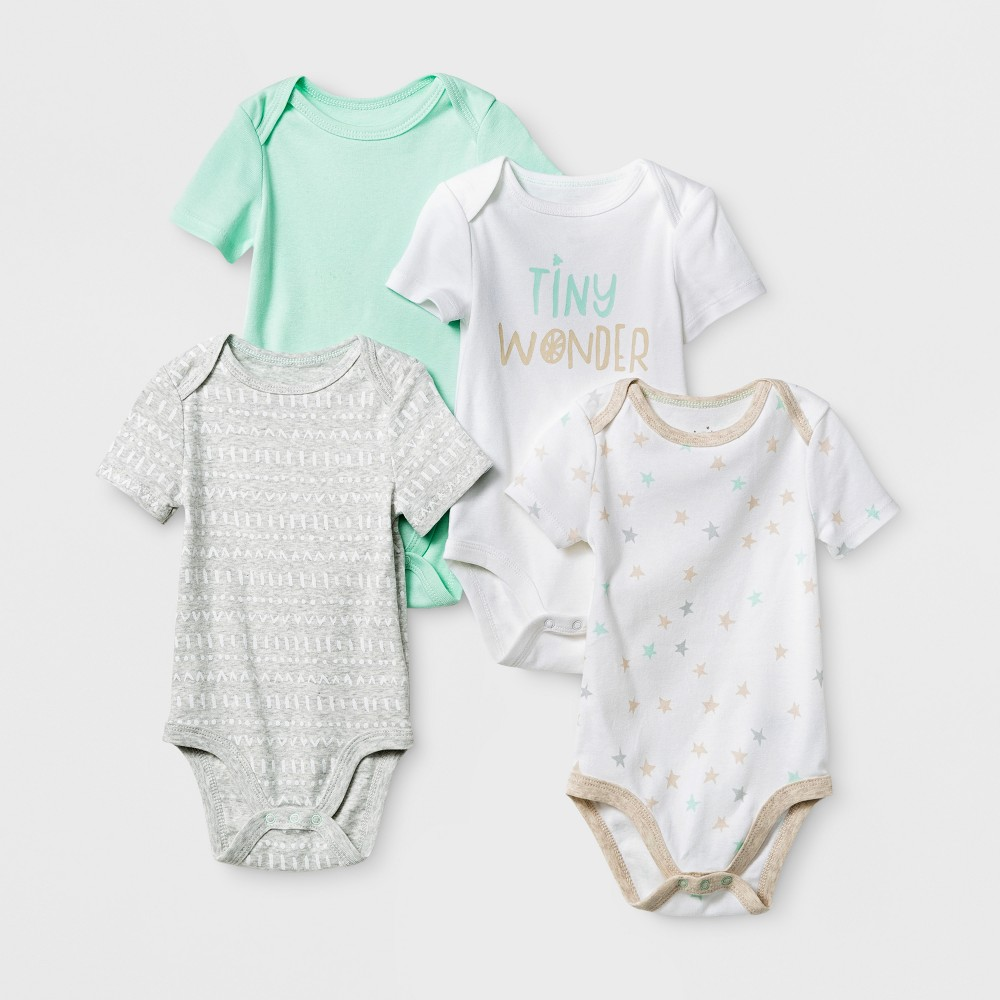 Baby 4pk Short Sleeve Bodysuit Mint/Oatmeal 0-3M - Cloud Island, Infant Unisex, Size: 0-3 M, Green