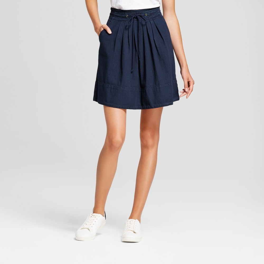 Womens Denim Pleat Front Skirt - A New Day Indigo S, Blue