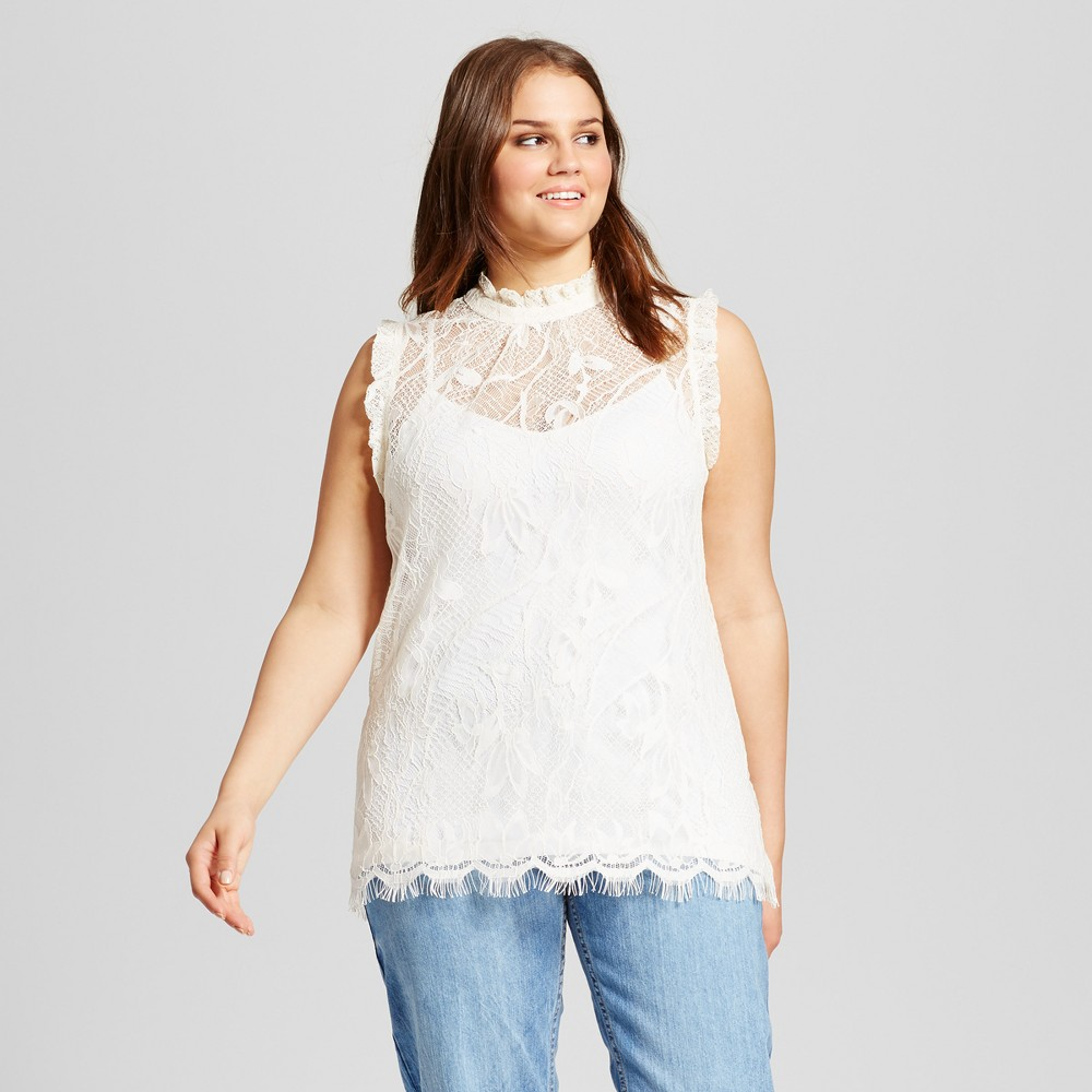 Womens Plus Size Ruffle Neck Lace Shell - Who What Wear White X