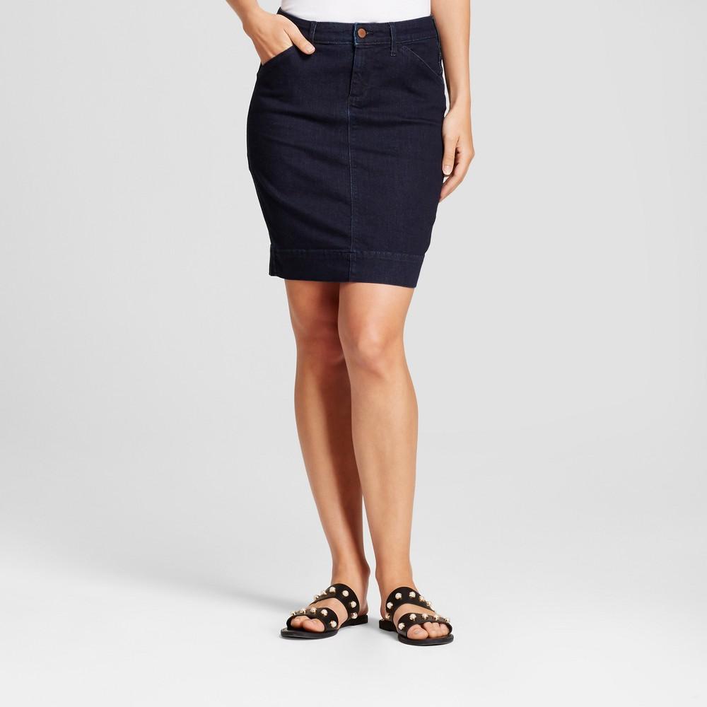 Womens Denim Pencil Skirt - A New Day Indigo 0, Blue