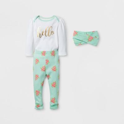 Baby Girls' 3pc Floral Bodysuit, Pants and Headwrap Set Cloud Island™ - Mint/White NB