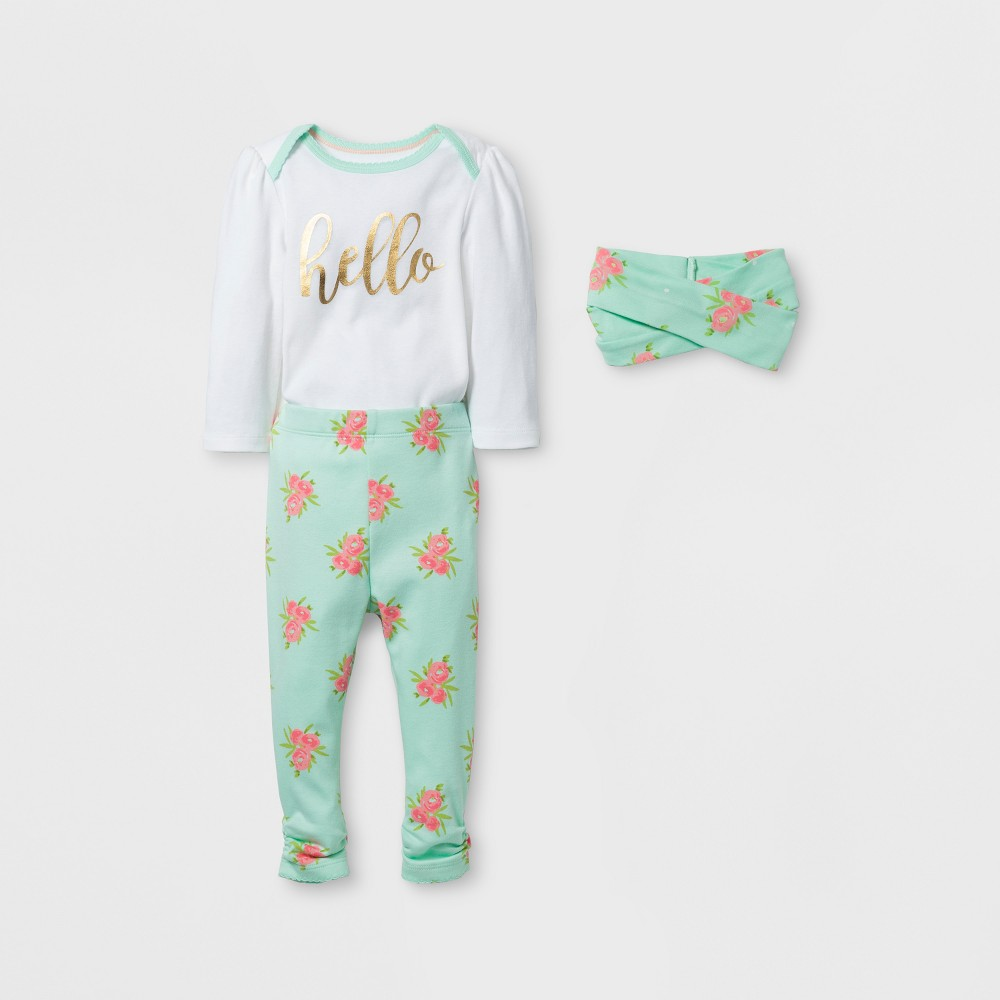 Baby Girls 3pc Floral Bodysuit, Pants and Headwrap Set Cloud Island - Mint/White NB, Green