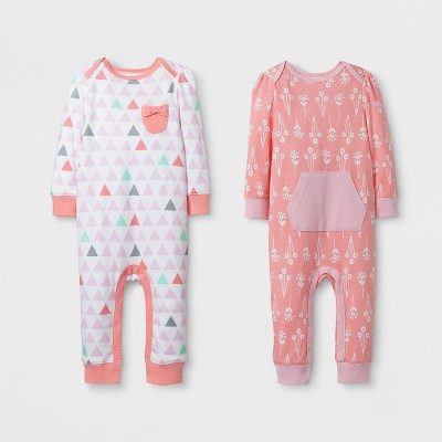 Baby Girls' 2pk Coverall Set Cloud Island™ - Pink/Coral 0-3M