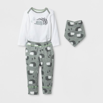 Baby 3pc Hedgehog Bodysuit, Pants and Bib Set Cloud Island™ - Gray/White 6-9M