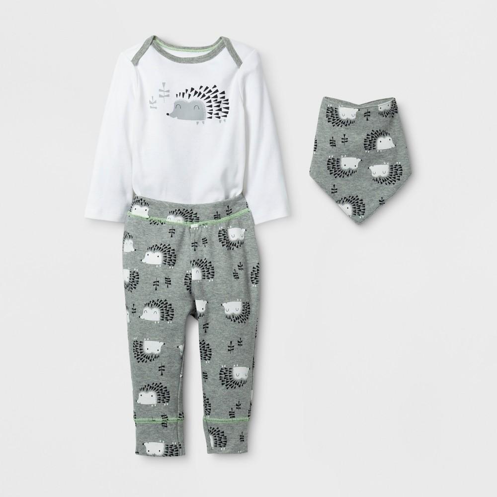 Baby 3pc Hedgehog Bodysuit, Pants and Bib Set Cloud Island - Gray/White 6-9M, Infant Unisex