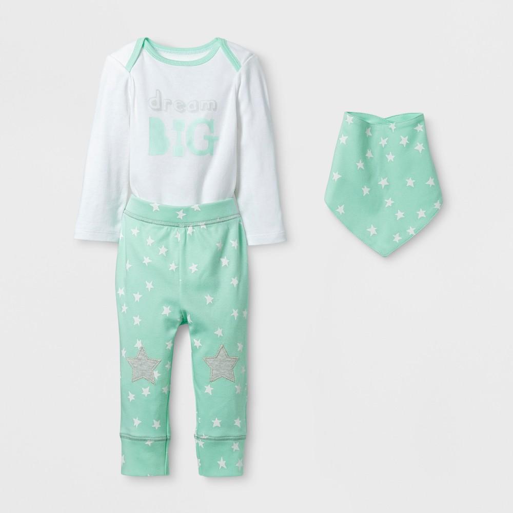 Baby 3pc Dream Big Bodysuit, Pants and Bib Set Cloud Island - Mint/White 3-6M, Infant Unisex, Green