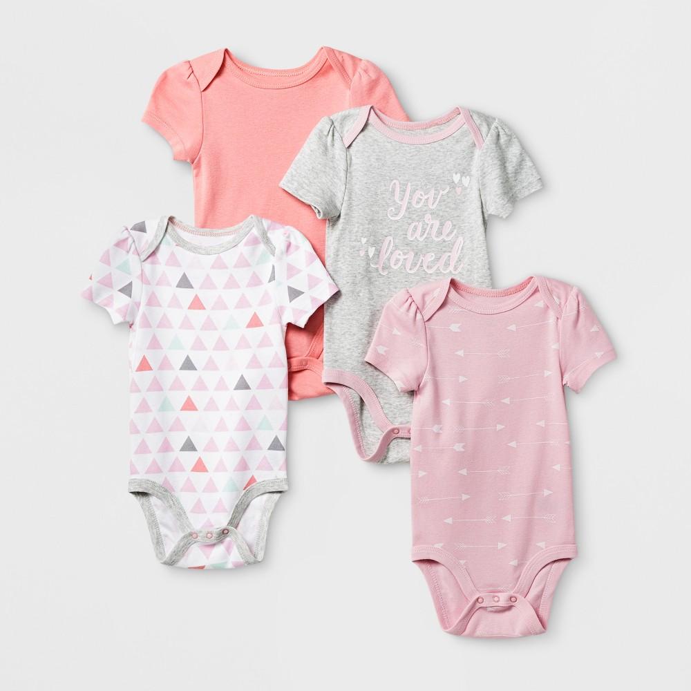 Baby Girls 4pk Short Sleeve Bodysuit Pink/Coral 0-3M - Cloud Island, Size: 0-3 M