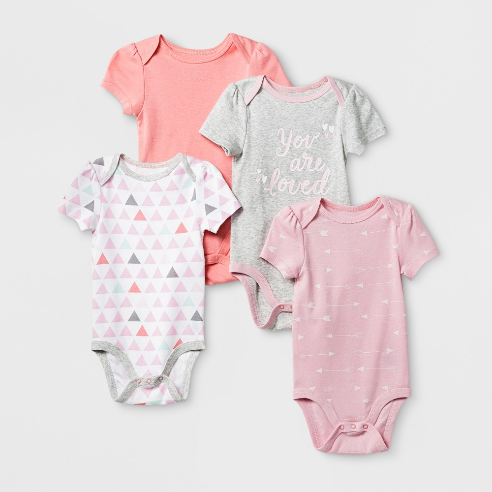 Baby Girls 4pk Short Sleeve Bodysuit Pink/Coral 12M - Cloud Island, Size: 12 M
