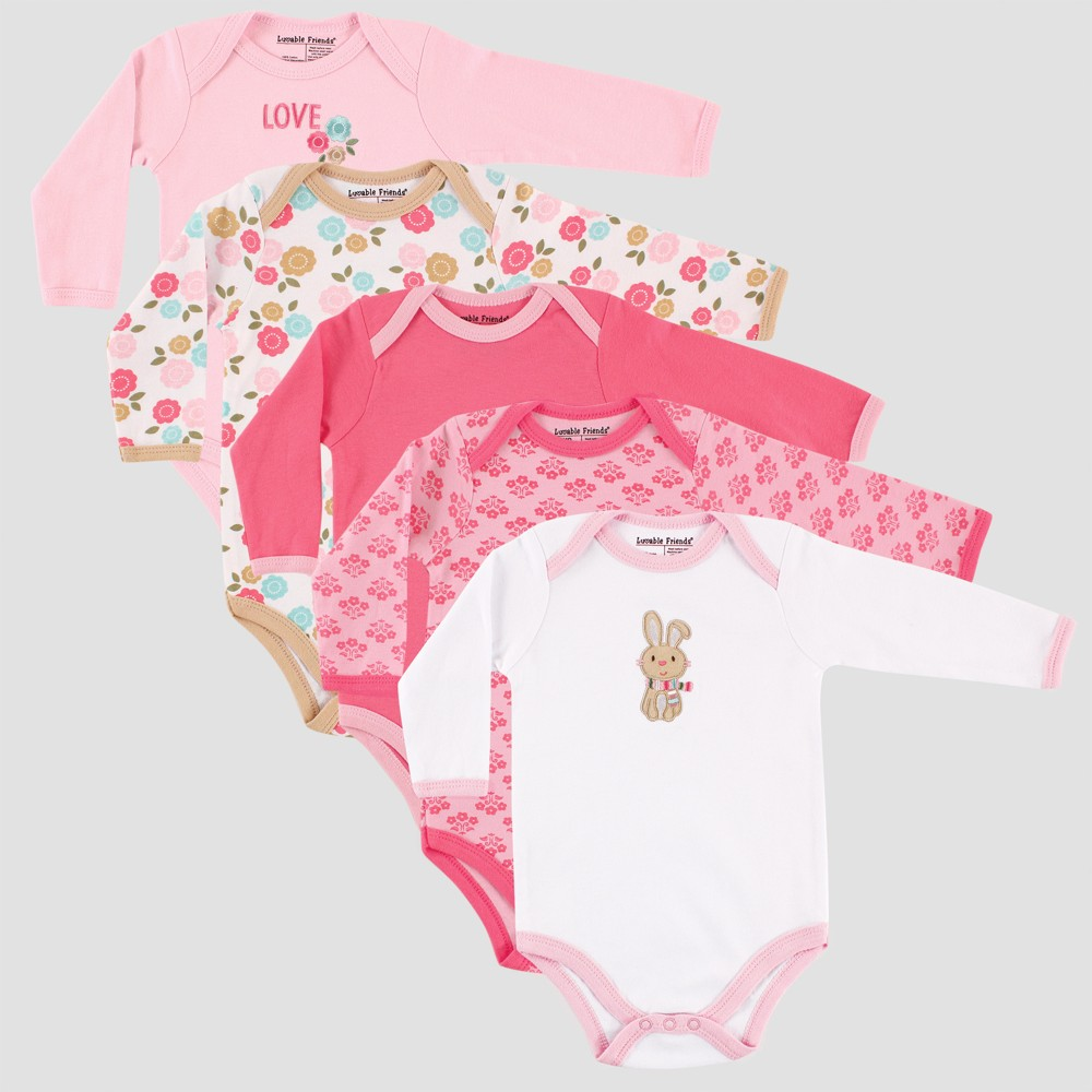 Luvable Friends Baby Girls 5pk Long Sleeve Rabbit Bodysuit Set - Pink 9-12M, Size: 9-12 M