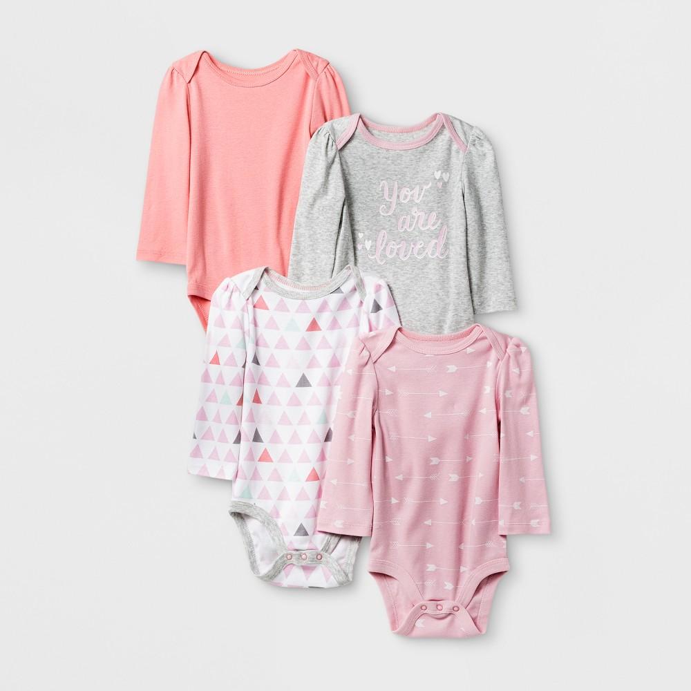 Baby Girls 4pk Long Sleeve Bodysuit Pink/Coral NB - Cloud Island