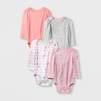 Baby Girls' 4pk Long Sleeve Bodysuit Pink/Coral 6-9M - Cloud Island™