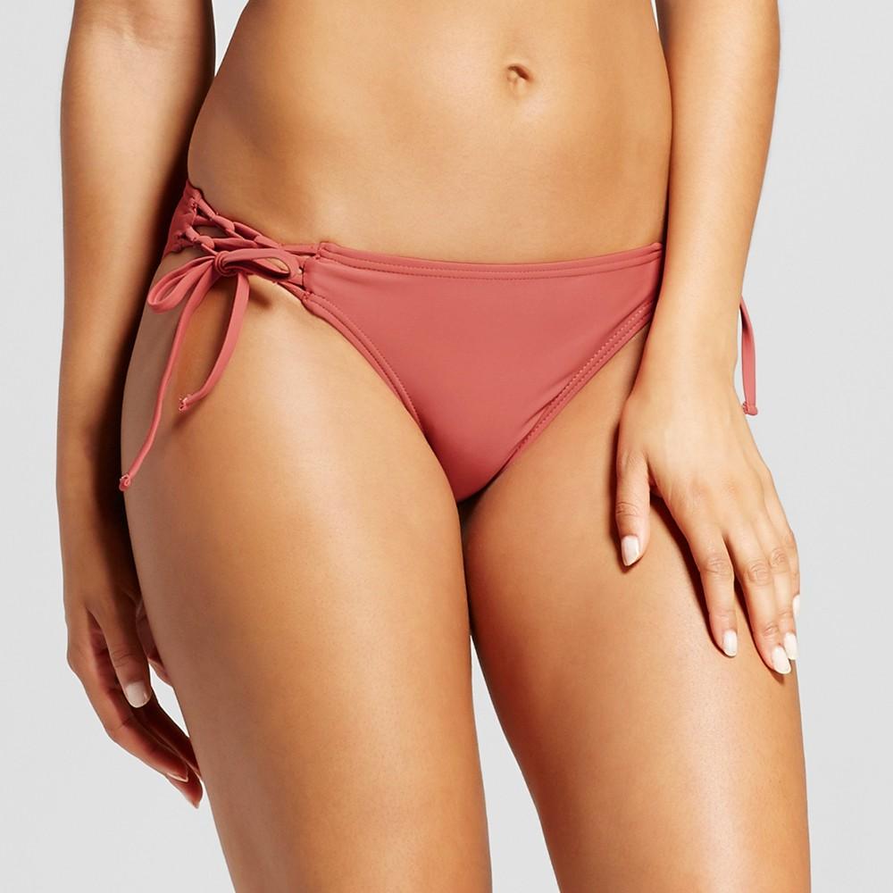 Womens Lace Up Cheeky Bikini Bottom - Xhilaration Rosewood S, Red