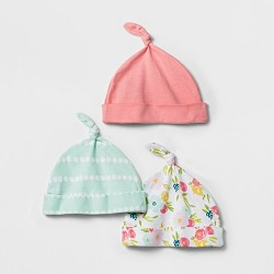 Baby Girls' 3pk Hat Set Cloud Island™ - Coral Floral