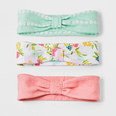 Baby Girls' 3pk Headband Set Cloud Island™ - Coral Floral