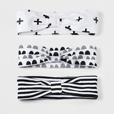 Baby Girls' 3pk Headband Set Cloud Island™ - Black/White