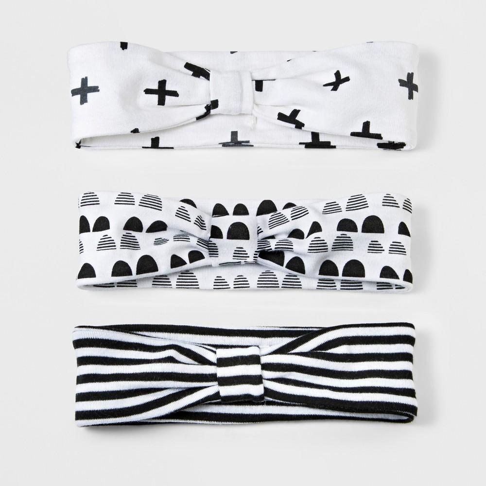 Baby Girls 3pk Headband Set Cloud Island - Black/White