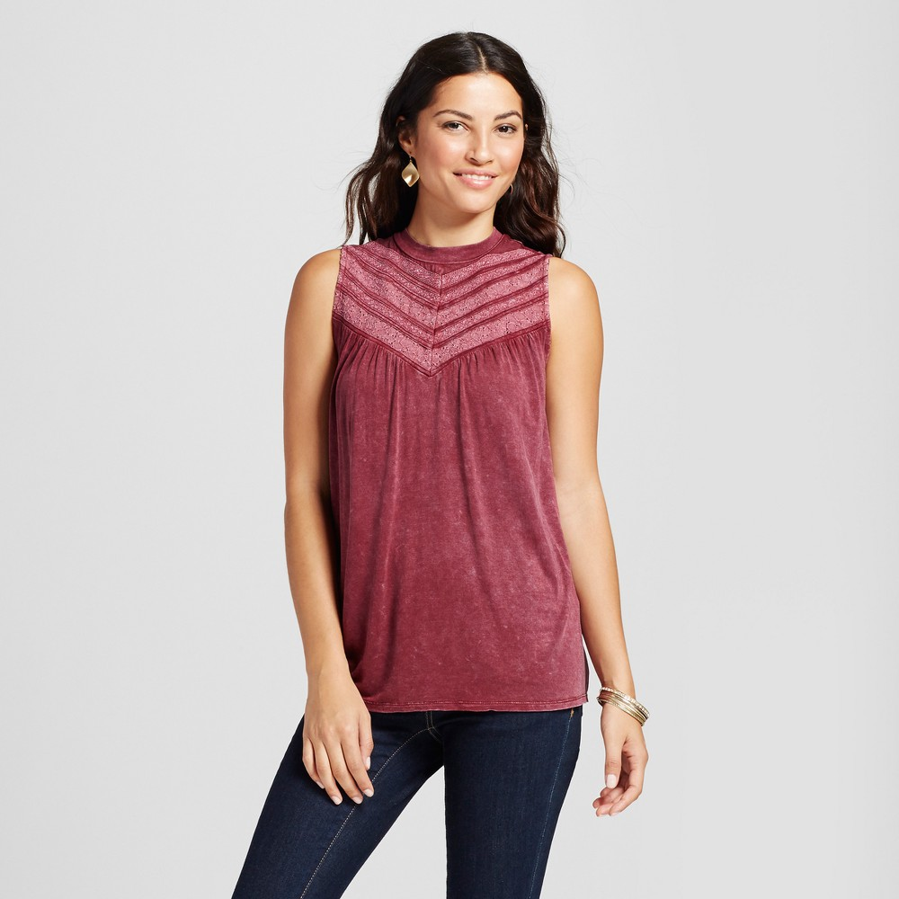 Womens Crochet and Lace Oil Wash Tank - Knox Rose Berry M, Red