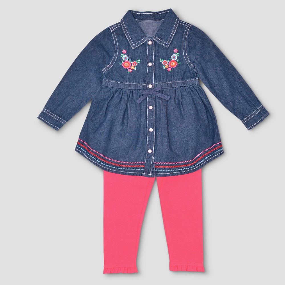 Baby Grand Signature Baby Girls Denim Shirt Dress with Heart Patches - Blue 18M, Size: 18 M