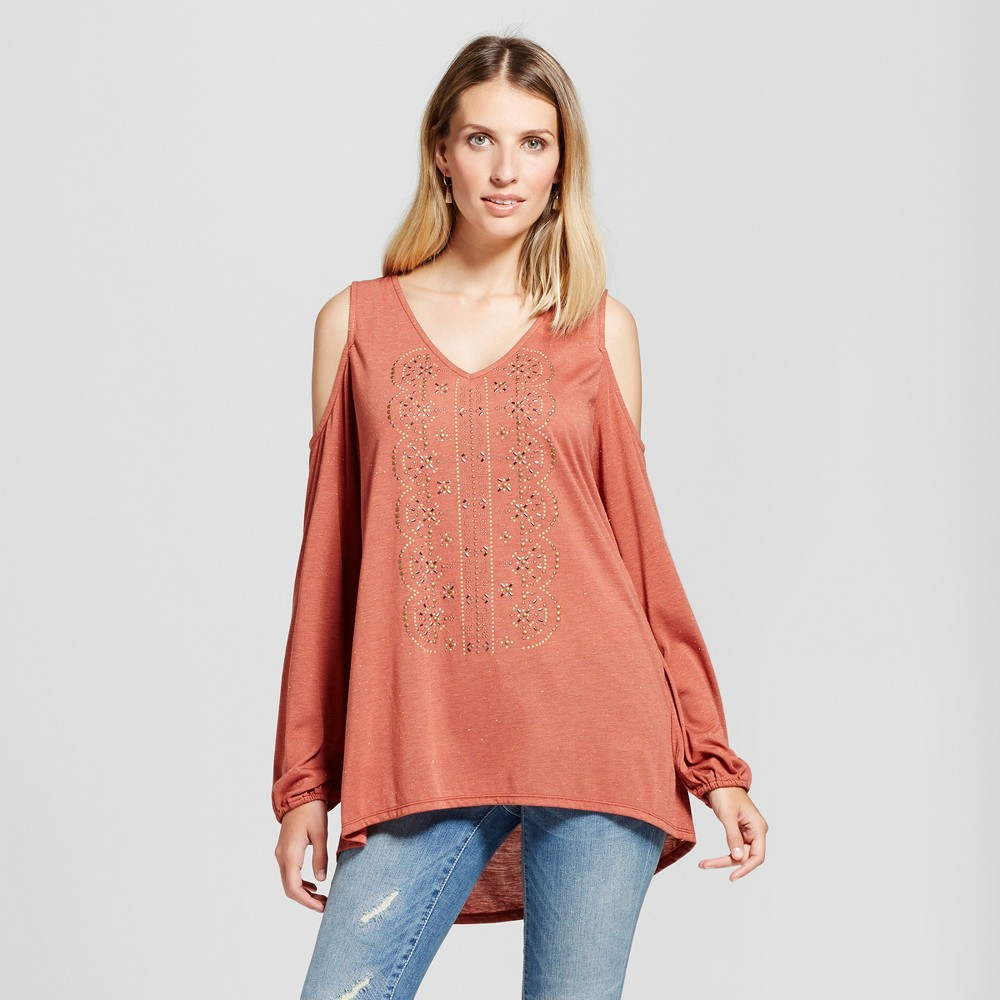 Womens Embellished Cold Shoulder Top - Knox Rose Rust S, Red