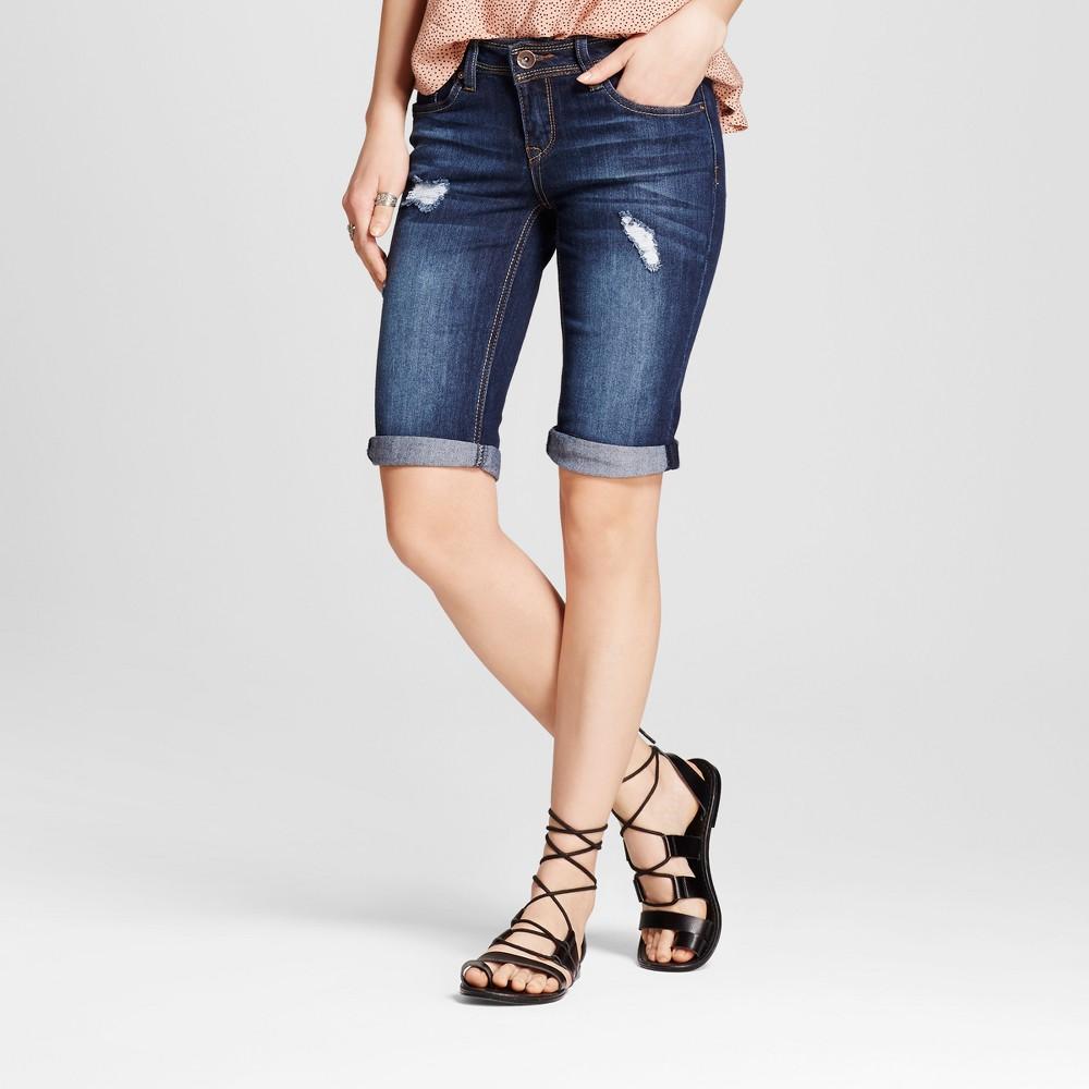 Womens Destructed Roll Cuff Bermuda Jean Shorts Dark Blue 5 - Dollhouse (Juniors)