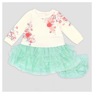 Baby Grand Signature Baby Girls' Printed Popover Dress and Ruffle Skirt Set - Mint 6-9M