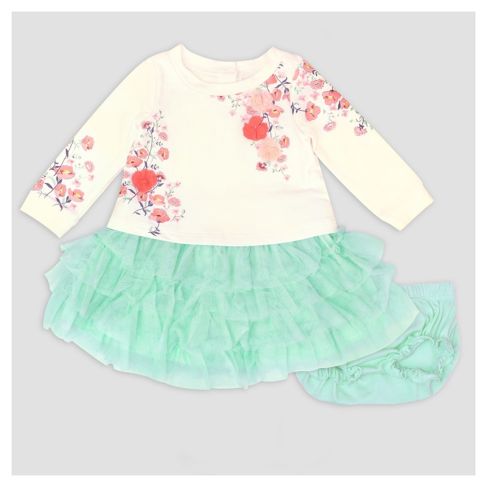 Baby Grand Signature Baby Girls Printed Popover Dress and Ruffle Skirt Set - Mint 6-9M, Size: 9 M, Green