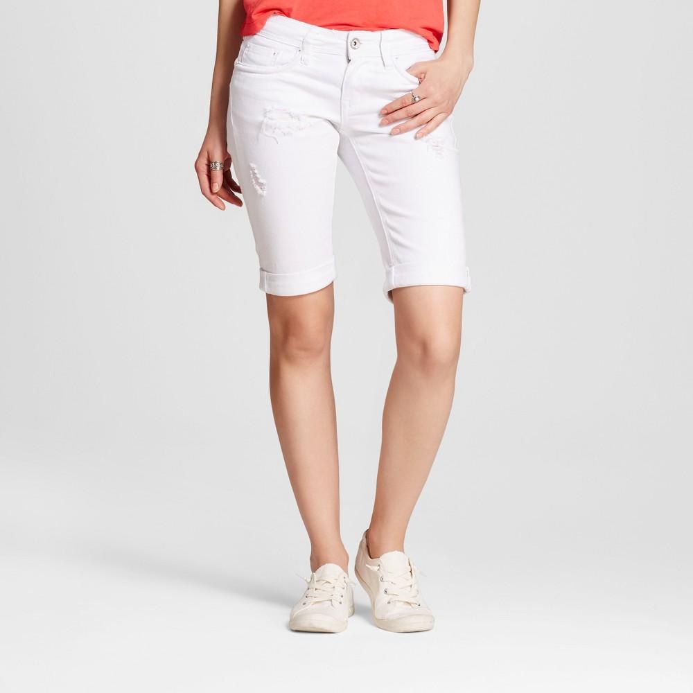 Womens Destructed Roll Cuff Bermuda Jean Shorts White 3 - Dollhouse (Juniors)