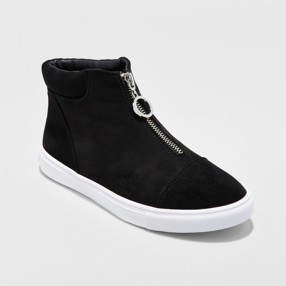 Womens Xiomara Zip Front High-Top Sneakers - A New Day Black 6.5