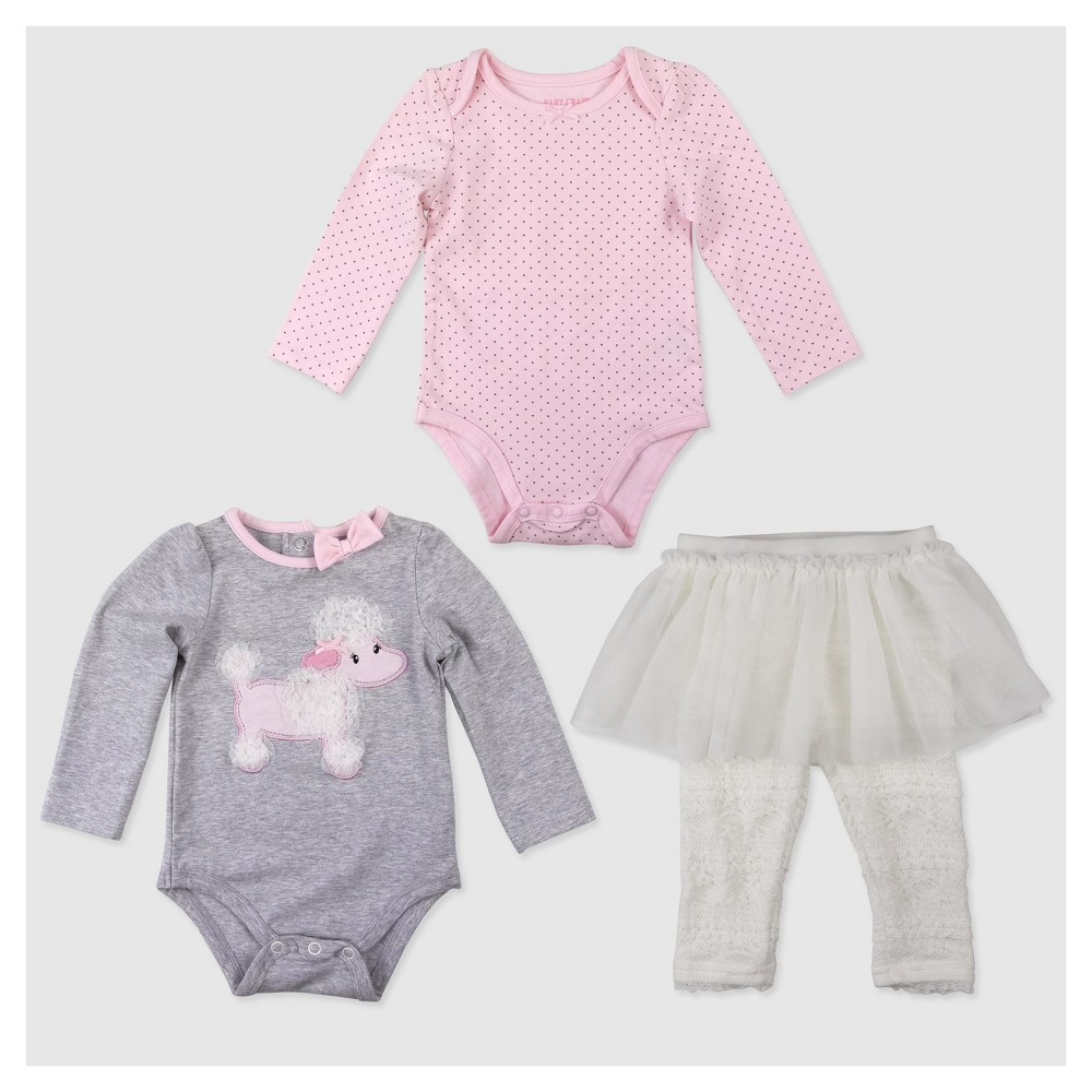 Baby Grand Signature Baby Girls Dog Bodysuit and Lace Leggings Set - Gray 3-6M, Size: 3-6 M