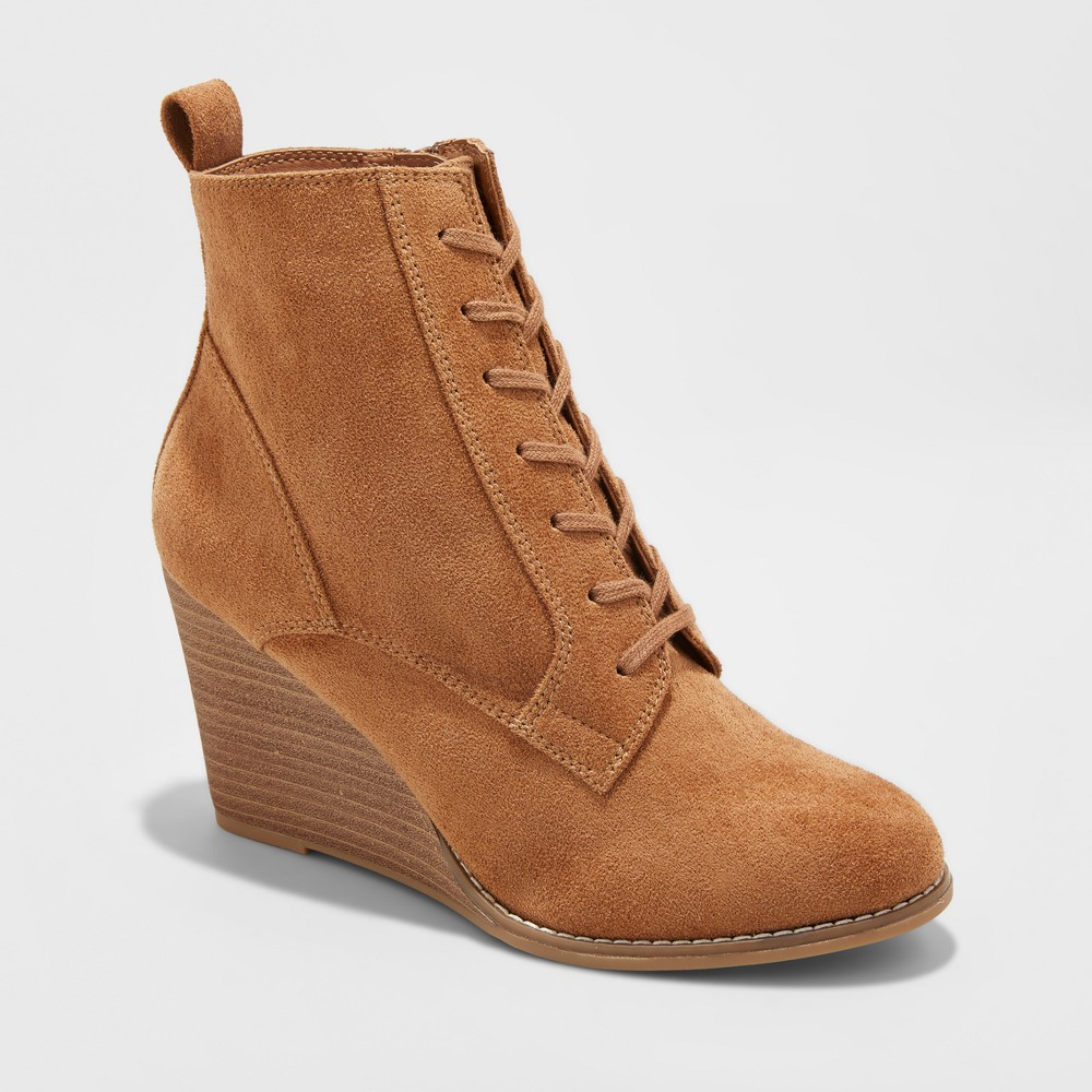 Womens Cora Lace-Up Wedge Booties - A New Day Cognac (Red) 7