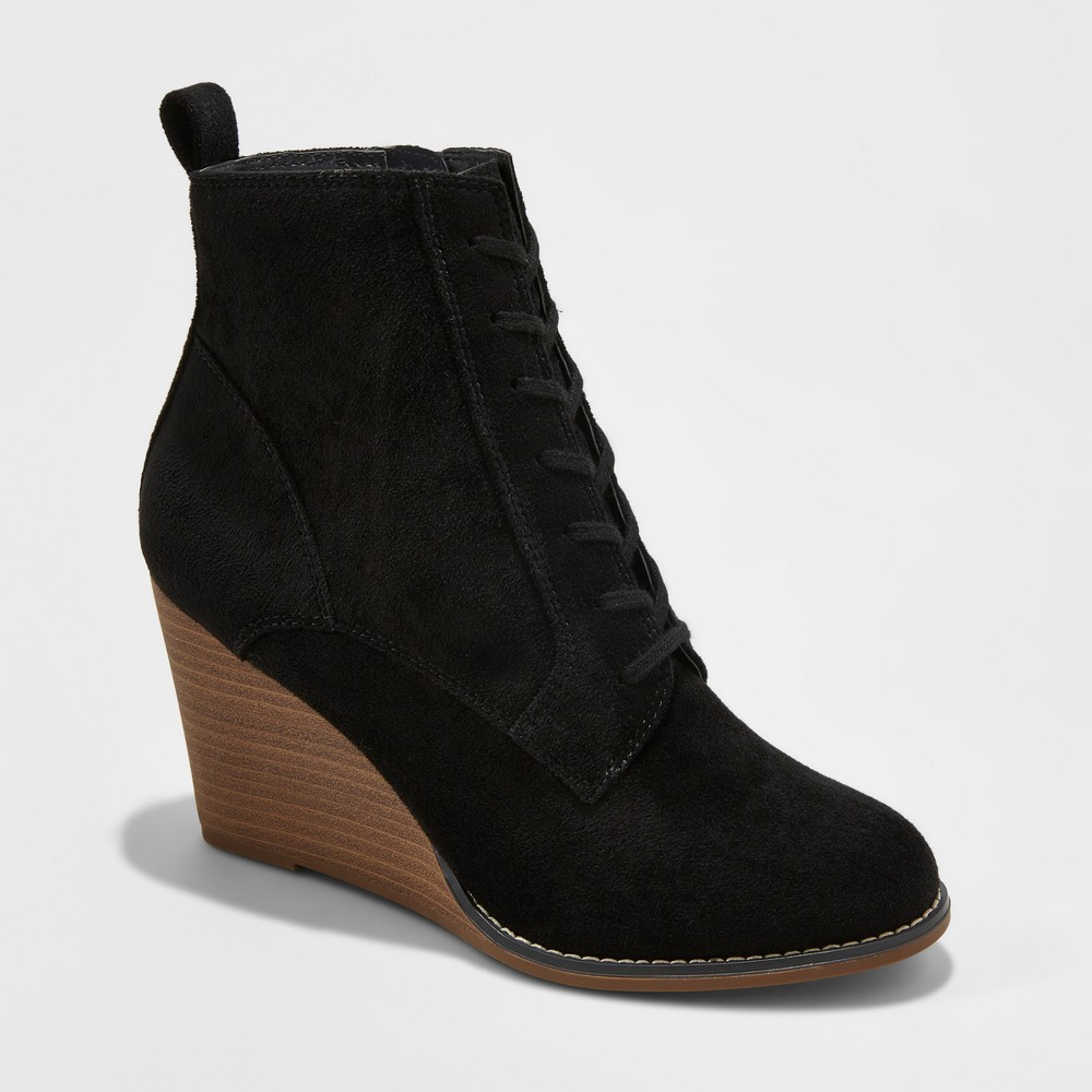 Womens Cora Lace-Up Wedge Booties - A New Day Black 9.5