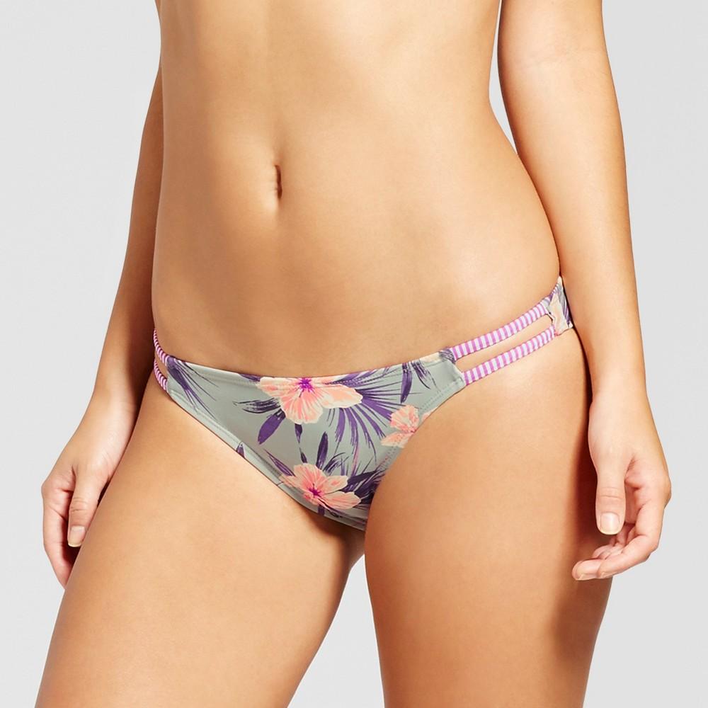 Women's Strappy Bikini Bottom - Xhilaration Blue Floral S