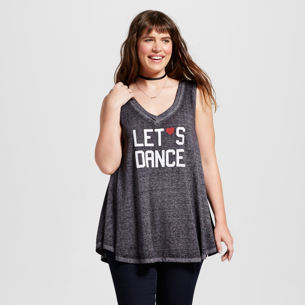 Womens Plus Size Lets Dance Graphic V-Neck Tank Top Black 2X - Zoe+Liv