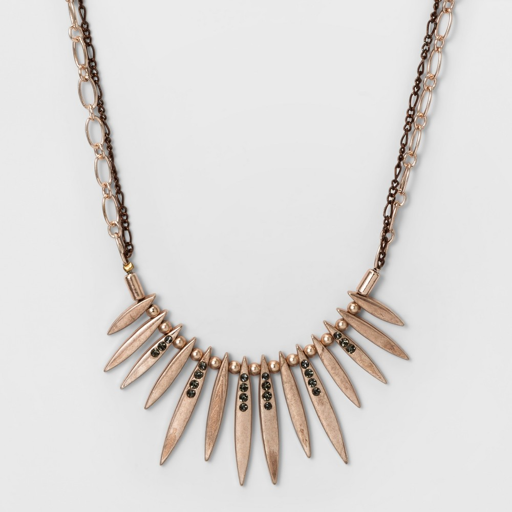 Womens Necklace with Stones and Double Chain - Rose Gold
