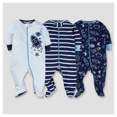 Baby Boys' 3pk Zip Front Sleep N Play - Space 0-3M - Gerber®