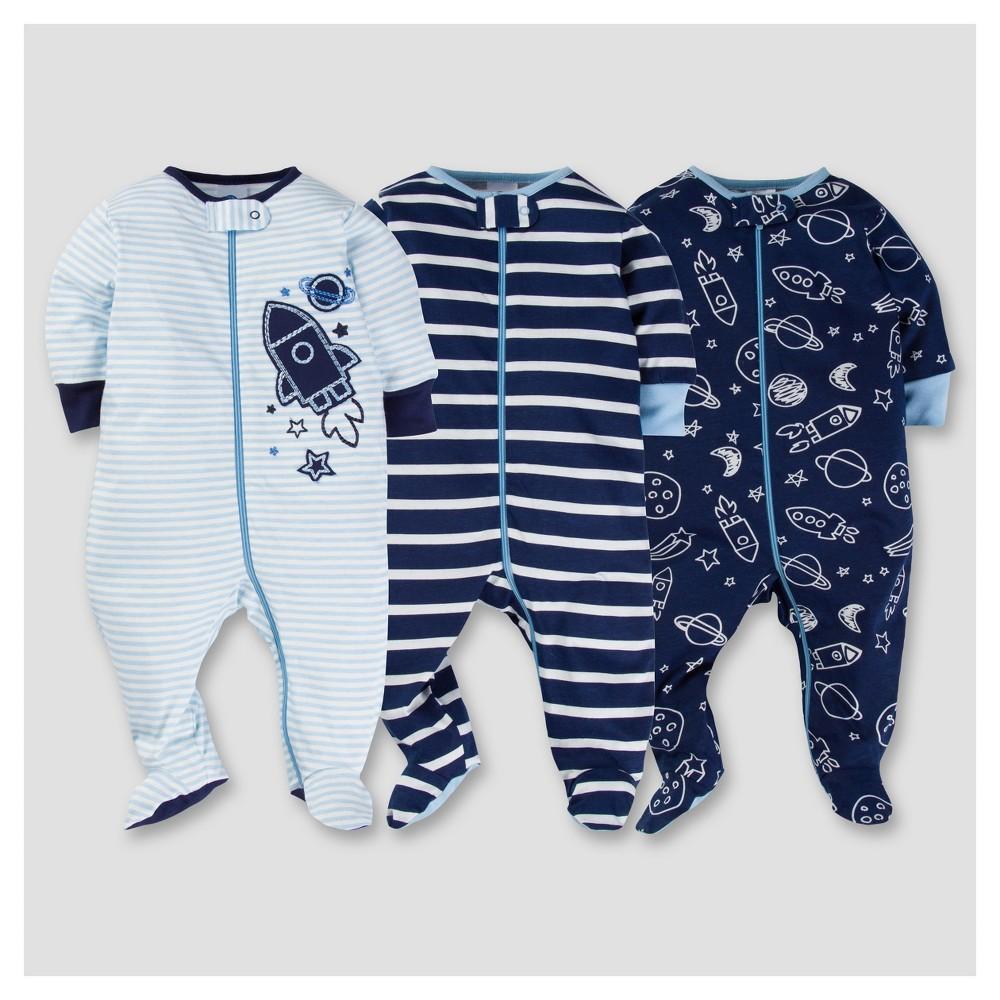 Baby Boys 3pk Zip Front Sleep N Play - Space 0-3M - Gerber, Blue