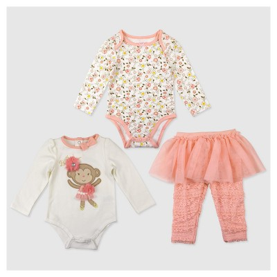 Baby Grand Signature Baby Girls' Monkey Bodysuit and Lace Leggings Set - Coral 0-3M