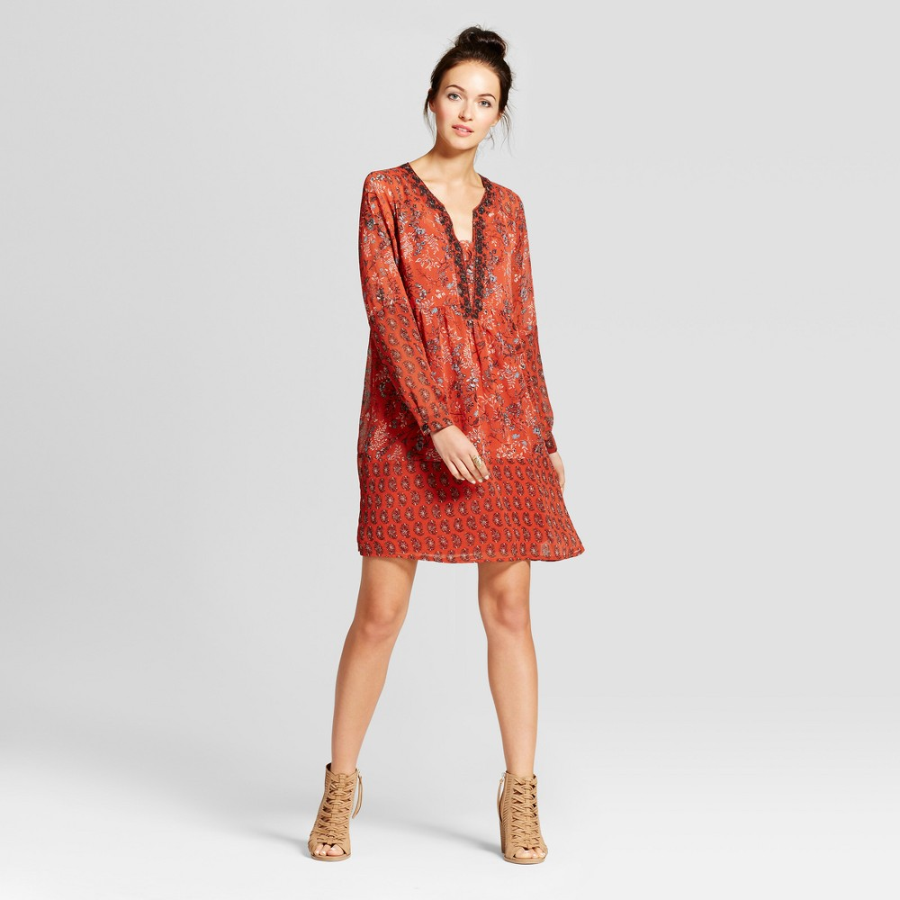 Womens Embroidered Border Print Dress - Knox Rose Xxl, Orange