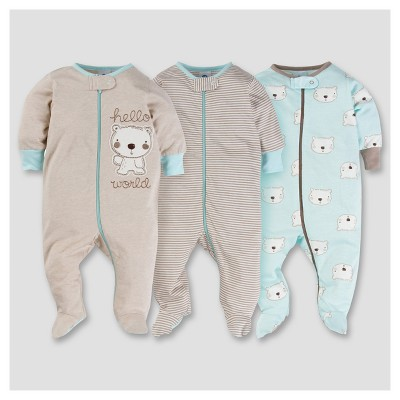 Baby Boys' 3pk Zip Front Sleep N Play - Bear 3-6M - Gerber®