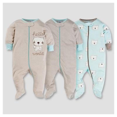 Baby Boys' 3pk Zip Front Sleep N Play - Bear 3-6M - Gerber®