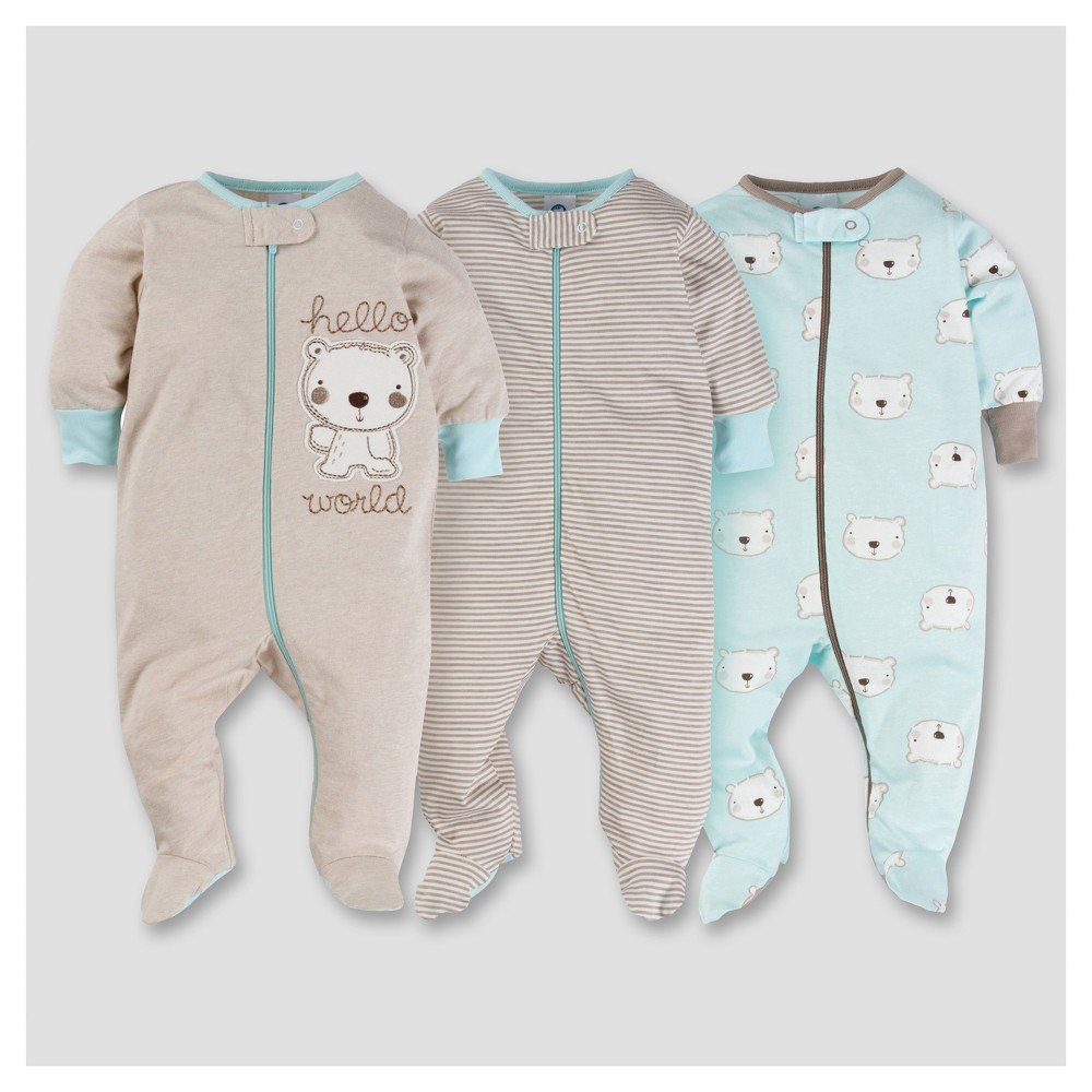 Baby Boys 3pk Zip Front Sleep N Play - Bear 3-6M - Gerber, Brown