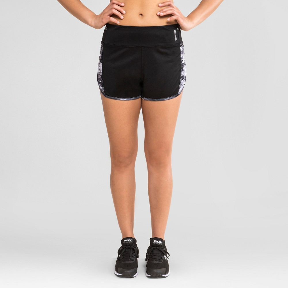 Rbx Womens Knit Running Shorts with Impressions Piecing - Black/Purple S, Size: XL, Black Purple