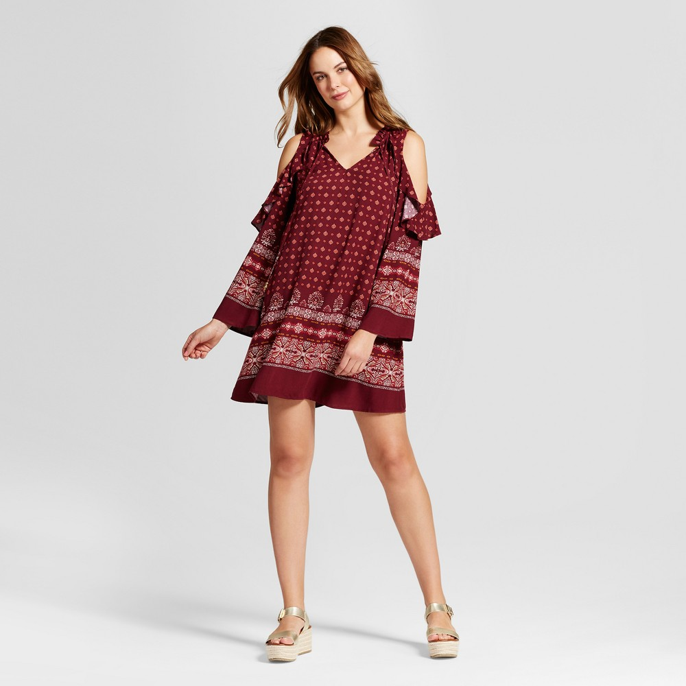 Womens Border Print Cold Shoulder Dress - Knox Rose M, Red