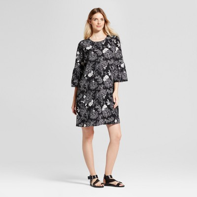 Maternity Bell Sleeve Floral Print Dress - Isabel Maternity™ by Ingrid & Isabel® Black XS