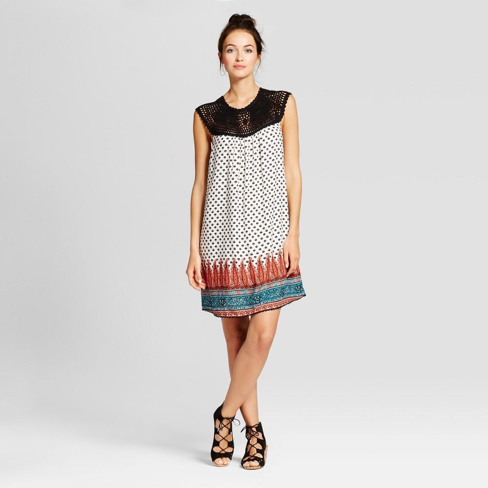 Womens Crochet Top Border Print Dress - Knox Rose XS, Multicolored