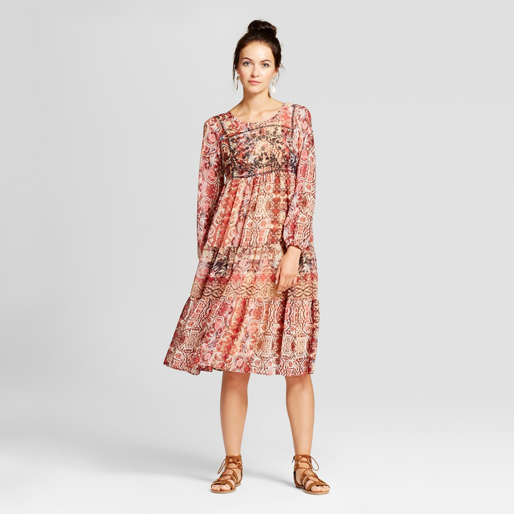 Womens Embroidered Print Midi Dress - Knox Rose L, Multicolored